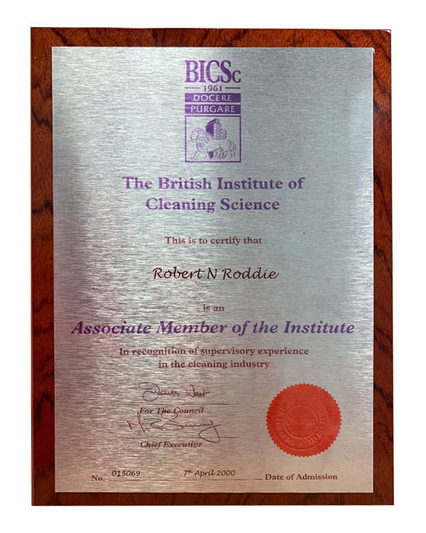 British institute of cleaning science award plaque
