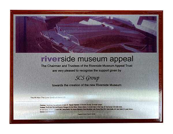 Bam Riverside Museum Appeal award plaque