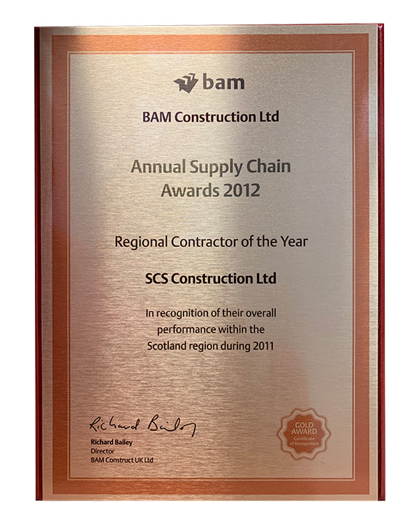 BAM Golden award plaque
