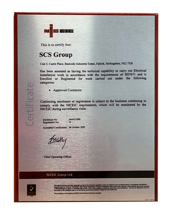 National inspection council for electrial installation contracting award plaque