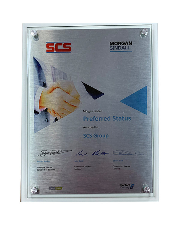 Morgan Sindall award plaque for preferred status